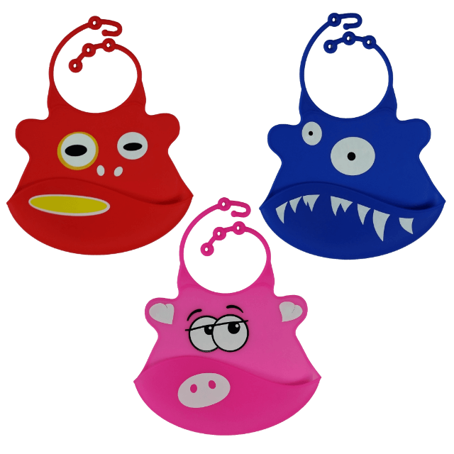 ILuvBaby Silicone Bib with Crumb Catcher - 3 Pack