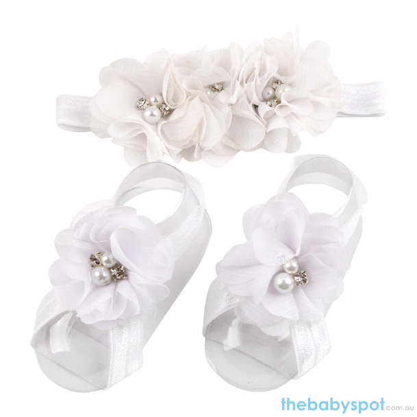 Cute Baby Headband And Shoe Set - White