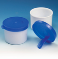 Fecal container with attached spoon
