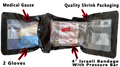"Vacuum Shrinked Kit: 4"" Israeli Bandage with Pressure Bar + Medical Gauze + Gloves Kit"