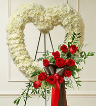 Red Roses Open Heart Funeral Flowers
