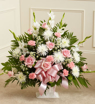 Heartfelt Tribute Floor Basket Arrangement [Pink & White]