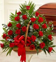 Red Sincerest Sympathies Fireside Basket
