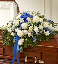 Blue and White Cherished Memories Half Casket Cover Funeral Flowers