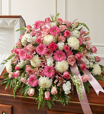 Pink and White Cherished Memories Half Casket Cover Funeral Flowers