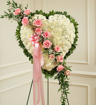 Pink Always In My Heart Floral Heart Funeral Flowers