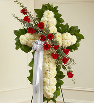 Red Peace and Prayers Standing Cross Funeral Flowers