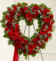 Always Remember Red Floral Heart Tribute Funeral Flowers