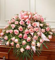 Cherished Memories Rose Half Casket Cover Pink