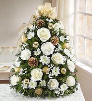 Glistening Gold Holiday Flower Tree