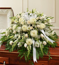 Cherished Memories Half Casket Cover In White