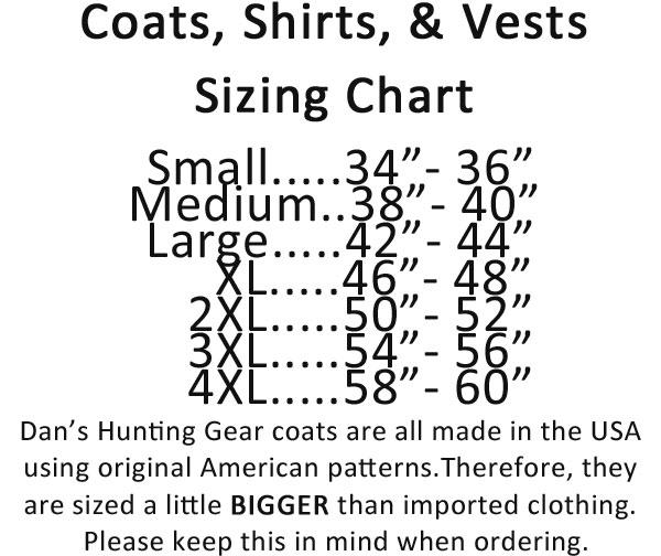 Briarproof Coat sizing chart