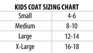 Briarproof Kid's Hunting Coat sizing chart