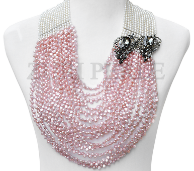 Handmade Unique Pink and White Jewelry, made with White Rice Fresh Water Pearls, Pink Fresh Water Pearls and Grey diamante pendants