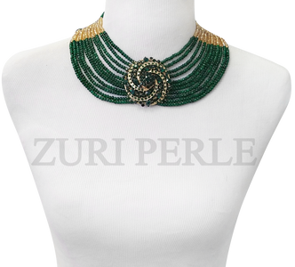 Handmade unique green and gold necklace, made with green and gold crystal beads and green diamante pendant.