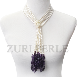 Handmade unique white pearl jewelry, made with white rice pearls and amethyst chips