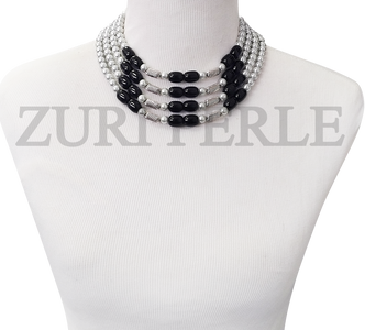 Handmade unique silver and black jewelry, made with silver pearls and black onyx tube beads
