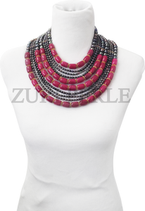 Zuri Perle peacock Fresh water pearl and pink jade handmade necklace african inspired nigerian jeweler