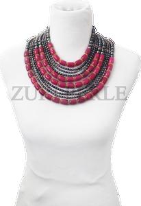 Zuri Perle peacock Fresh water pearl and pink jade handmade necklace african inspired nigerian jeweler