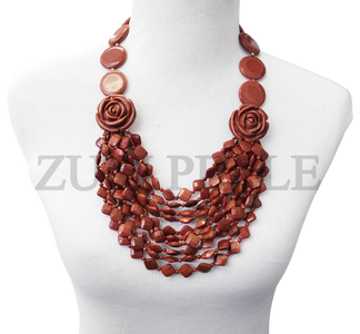 Zuri Perle  brown goldstone handmade necklace african inspired nigerian jeweler