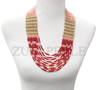 Zuri Perle  Red and Peach coral handmade necklace african inspired nigerian jeweler