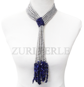 Handmade unique silver pearl jewelry, made with genuine silver fresh water rice pearls and lapis chips