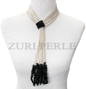 Handmade unique white pearl tassel tie jewelry, made with genuine white fresh water rice pearls and onyx chips