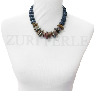 Handmade unique coral necklace. Made with blue coral graduating rondelle beads, agate slices, pink opal nuggets, gold plated beads cap and gold plated silver clasp.