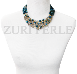 Handmade Blue Lace Agate Necklace, made with blue lace agate beads and diamante bib pendant. Comes with matching earrings and bracelet