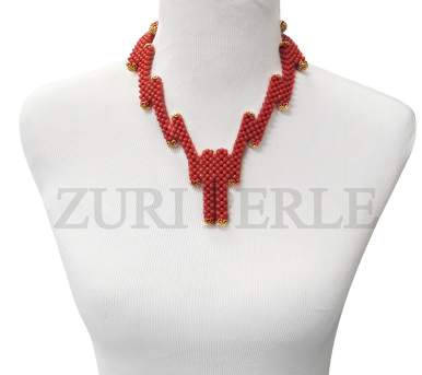 Zuri Perle  coral handmade necklace african inspired nigerian jeweler