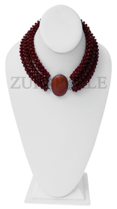 Chic, unique brown chord  necklace designed and handmade at the Zuri Perle Studio in Missouri, U.S.A