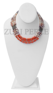 Zuri Perle Pearl and coral Handmade necklace African Inspired Jewelry Nigerian Jeweler