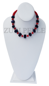 Zuri Perle Coral Lapis Handmade necklace African Inspired Jewelry Nigerian Jeweler