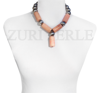 Zuri Perle Peach Coral tube necklace handmade necklace