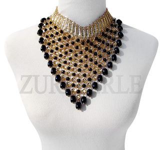 NEFE - Onyx Semi Precious Beads Wedding Statement Necklace Sets