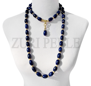 SANMA  Lapis Semi Precious Beads Wedding Statement Necklace Sets
