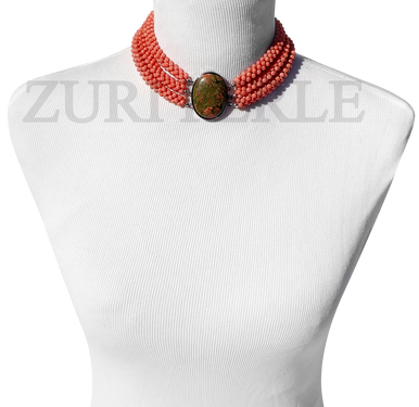 Zuri Perle Peach Coral chord necklace Unakite clasp handmade necklace