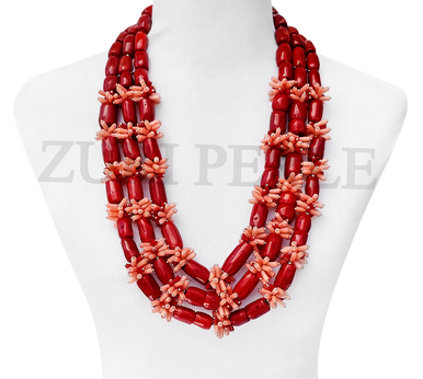 Quality Red Coral Nigerian Wedding African Beads Necklace Earrings Bracelet Statement Jewelry Made in America