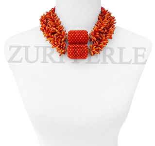 Original Coral Beads Nigerian Wedding African Jewelry Sets Bold Statement Necklace Set