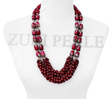 ADUNNI - Pink Jade Quality Handmade Nigerian Beads Wedding African Jewelry Sets Bold Statement Necklace Made in America