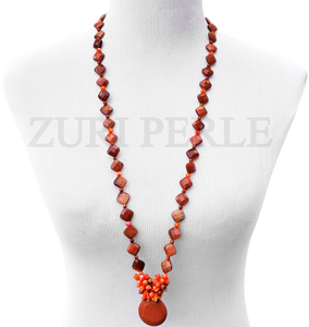 Women Handcrafted Brown Goldstone Necklace Made in America