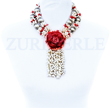 KIKE - Women Handcrafted White Pearl Red Coral Necklace Made in America