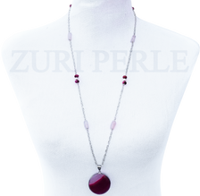SIMI - Women Handcrafted Pink Crazy Lace Agate Necklace Made in America