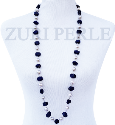 TONI - Women Handcrafted Pearl Lapis Necklace Made in America