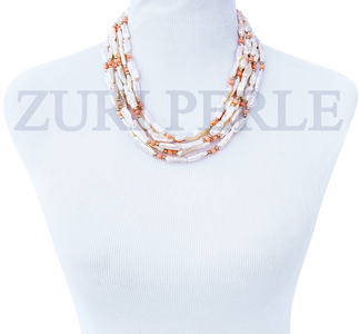 EWA - Women Handcrafted Pearl Coral Necklace Made in America
