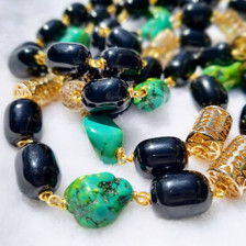 Women Handcrafted Onyx Howlite Necklace Made in America - NAWI