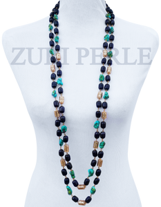Woman Handcrafted Onyx Howlite Necklace Made in America - NAWI