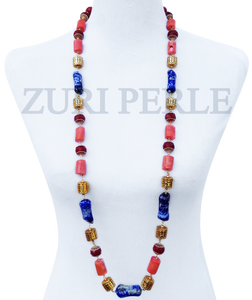 Women Handcrafted Coral Lapis Necklace Made in America - OMI