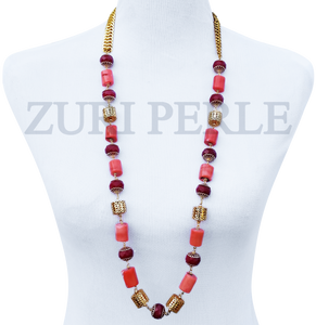 Women Handcrafted Peach Coral Necklace Made in America - EYI
