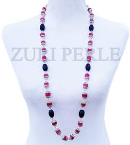 Women Handcrafted Pink Jadeite Lapis Necklace Made in America - MAYO